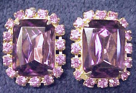 Earring Collection Vintage Rhinestones Signed