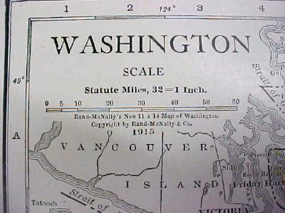 Antique Map Washington 1916 Nice Details & Colors