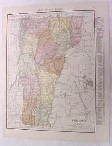 Antique Map Vermont 1916 Nice Details & Colors