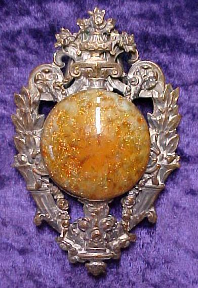 Antique Cloak Clasp Ornate Large Goldstone