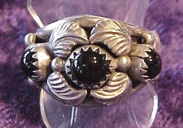 Sterling Onyx Ring Native American Signed