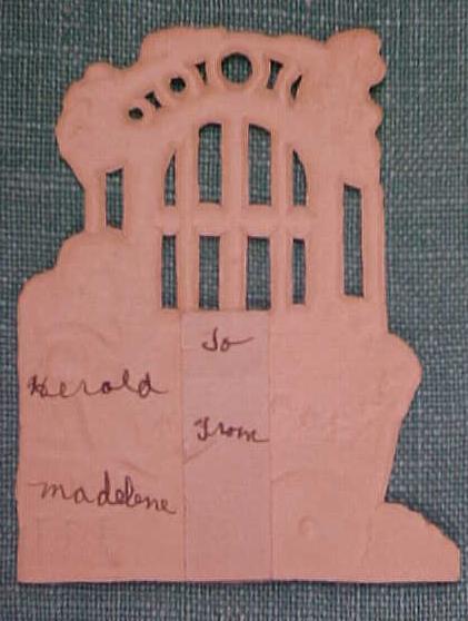 Antique Valentines Card Garden Scene Cut Out