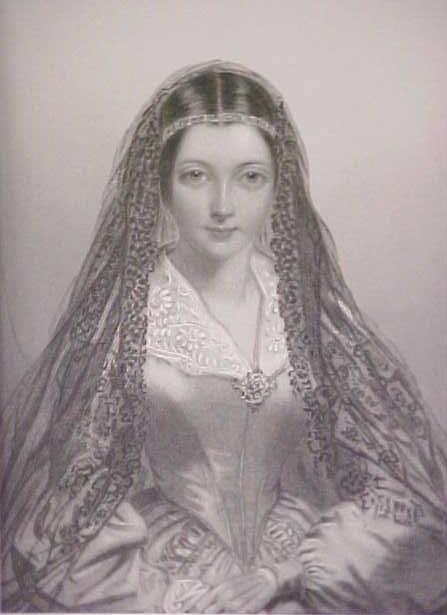 Lady Jane Engraving 1840's Ornate Frame