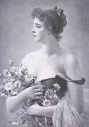 Lady with Flowers 1880's Germany Engraving Ornate Frame
