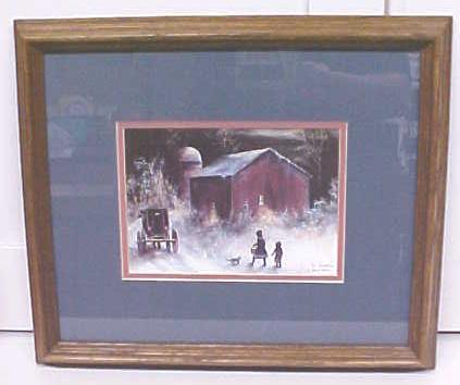 Amish Winter Barn Children Koenig Print 1992