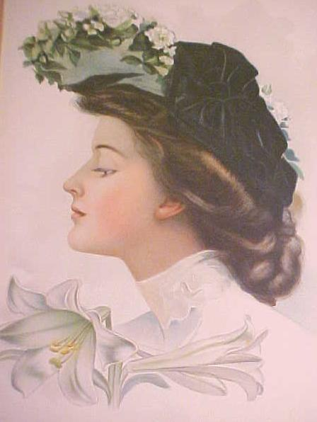 Print Lady with Black Hat 1906 Gibson Girl Style