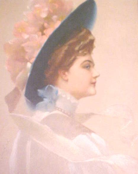 Print Lady with Blue Hat 1910 Gibson Girl Style