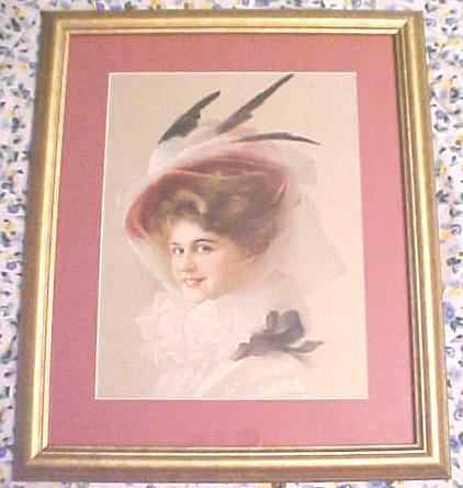 Print Lady with Veiled Hat 1910 Gibson Girl Style