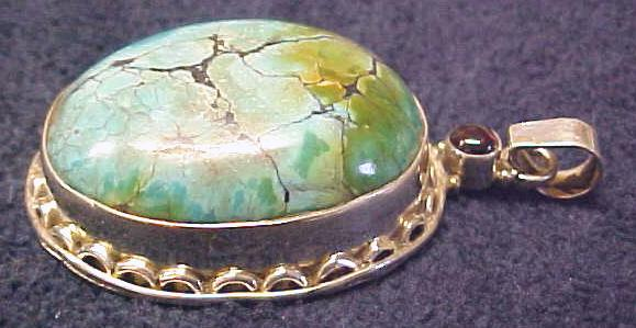 Pendant Sterling Silver Turquoise Cabochon
