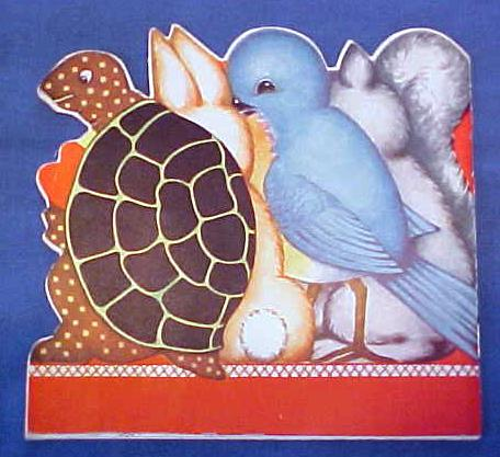 Antique Valentines Book Card Childs Animals Colorful