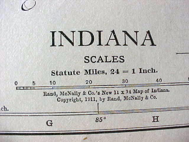 Map Indiana Cleveland 1912 Antique