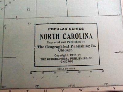Antique Map of North & South Carolina 1911