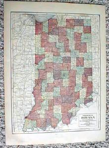 Antique Map of Illinois & Indiana 1911