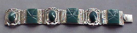 Bracelet Sterling Silver Carved Glass Elegant