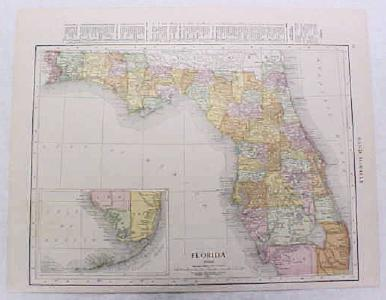 Antique Map Florida 1916 Nice Details & Colors