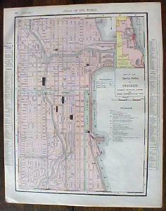 Antique Map Illinois & City of Chicago 1901 Colorful