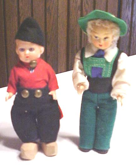 Dutch Boy Dolls Ethnic Wood Shoes Miniature 2 PC