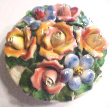 Capo di Monte Covered Bowl Roses Italy