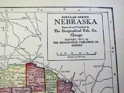 Antique Map of Nebraska & Kansas 1911