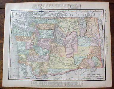 Antique Map Oregon Washington 1901 Colorful