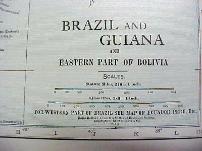 Antique Map Brazil Guiana 1916 Nice Details & Colors