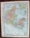 Antique Map Denmark 1901 Colorful