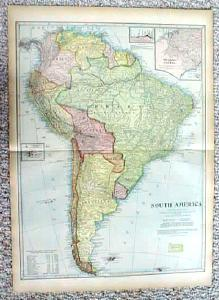 Antique Map South America & Islands 1899