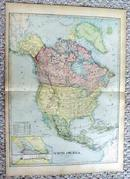Antique Map of North America 1899