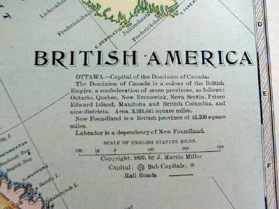 Antique Map British America Canada 1899