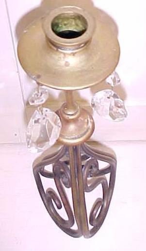 Brass Candlestick Holder w/Glass Prisms