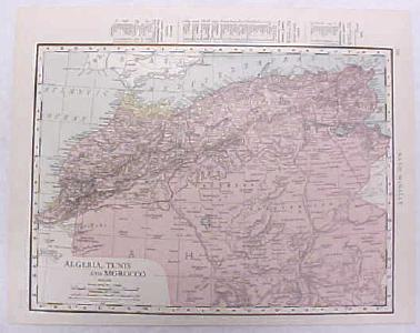 Antique Map Algeria Tunis Morocco 1916 Nice Details & Colors