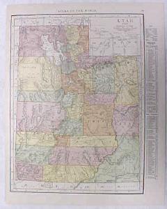 Antique Map Utah 1916 Nice Details & Colors