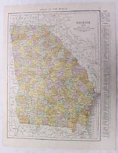 Antique Map Georgia 1916 Nice Details & Colors