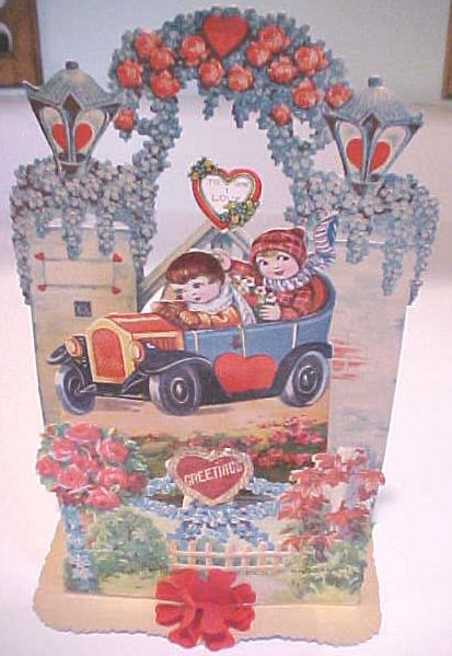 Antique Valentines Card Germany Large Size Flowers Fold Out