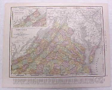 Antique Map Virginia 1916 Nice Details & Colors