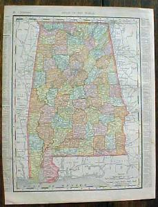 Antique Map Florida Alabama 1901 Colorful