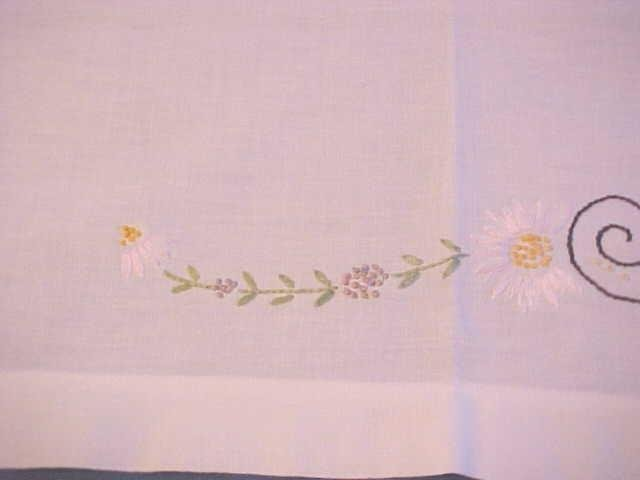 Vintage Tablecloth Embroidered Flowers 48x46
