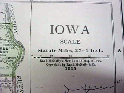 Antique Map Iowa 1916 Nice Details & Colors