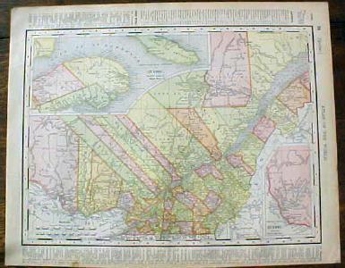 Antique Map Ontario Quebec 1901 Colorful