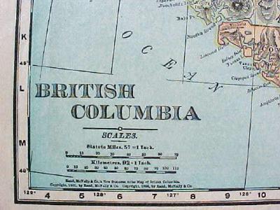 Antique Map British Columbia 1901 Colorful