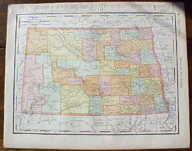 Antique Map North Dakota South Dakota 1901 Colorful