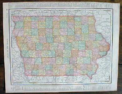 Antique Map Iowa Missouri 1901 Colorful