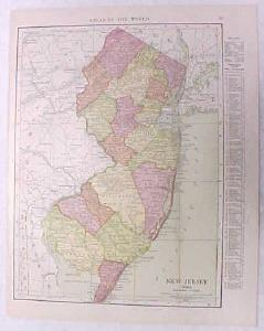 Antique Map New Jersey 1916 Nice Details & Colors