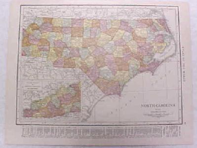 Antique Map North Carolina 1916 Nice Details & Colors