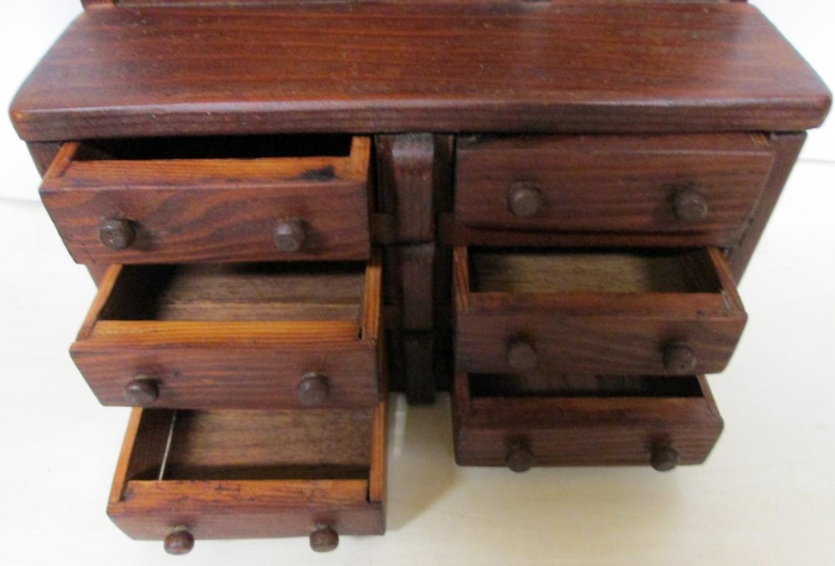 Folk Art Kitchen Cabinet Miniature Wood Medium Doll Size