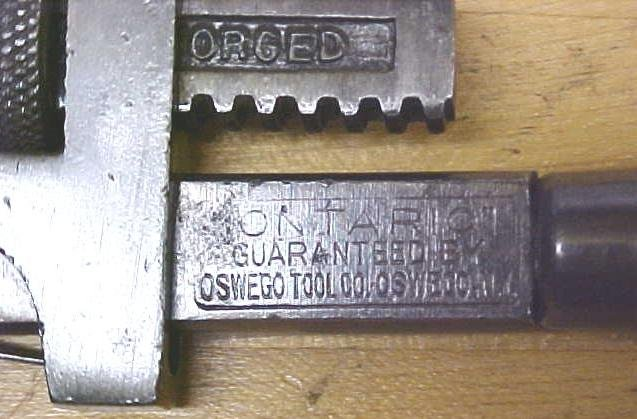 Oswego Ontario 8 inch Adjustable Pipe Wrench