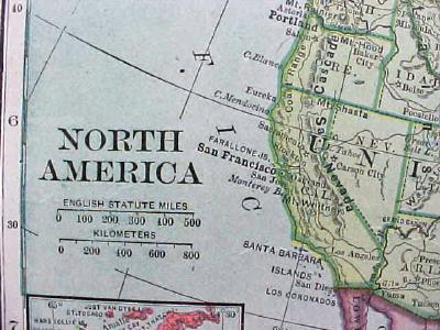 Antique Map North America 1904