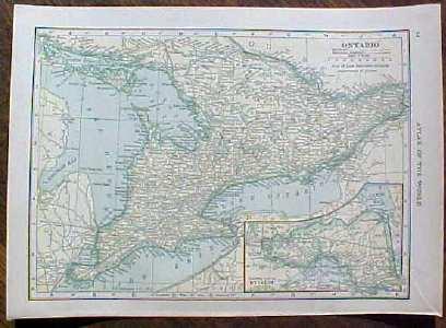 Antique Map Ontario Quebec 1910  Nice Size