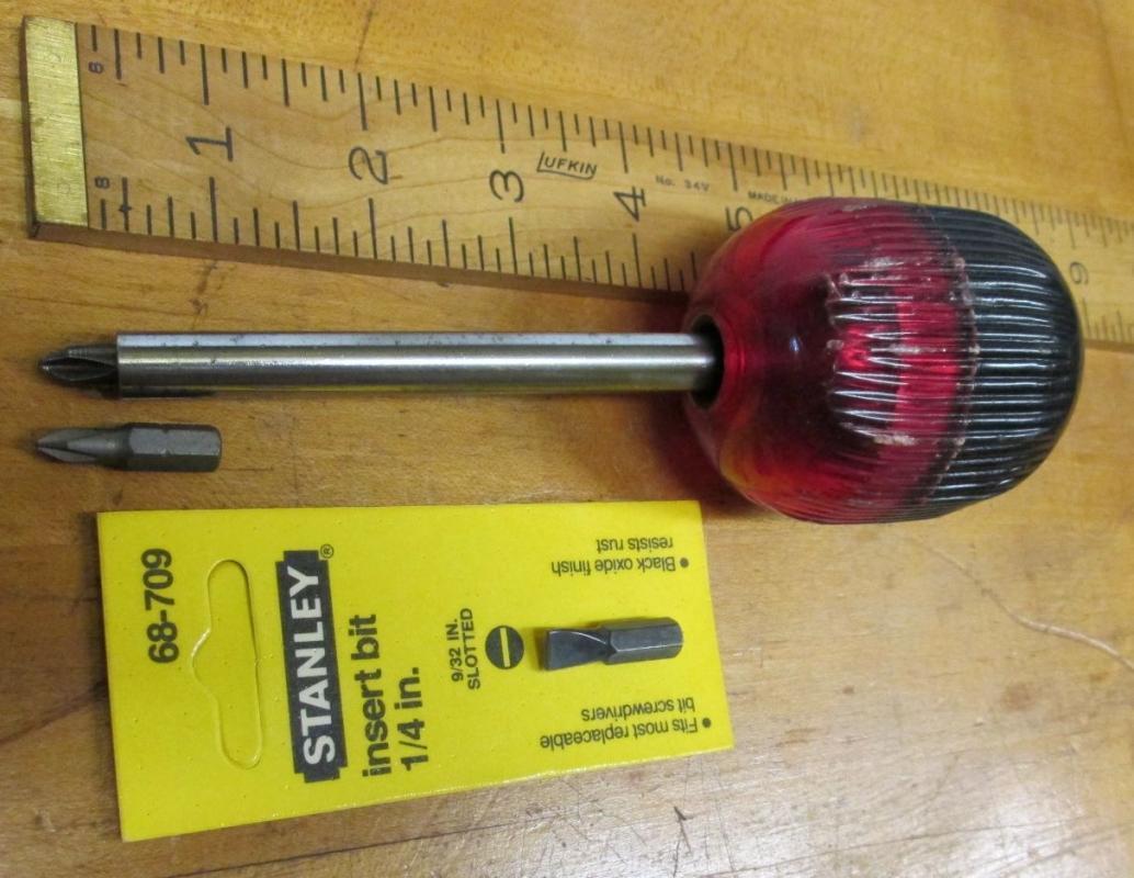 Vintage Ratchet Screwdriver Ball Handle & Hex Tips