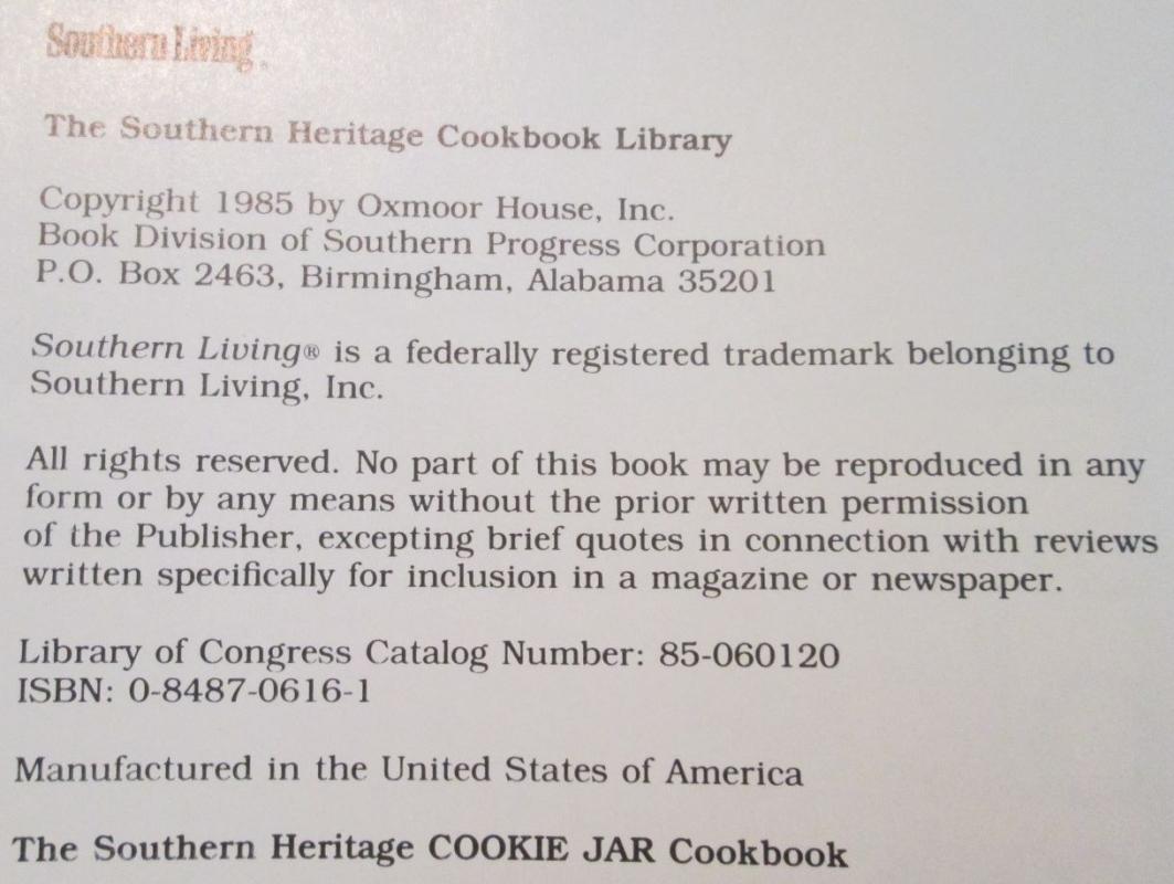 COOKIE JAR Cookbook Southern Heritage
